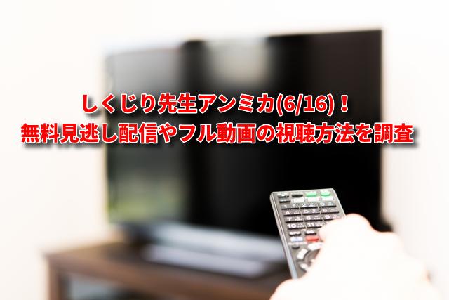しくじり先生アンミカ(6/16)の無料見逃し配信やフル動画の視聴方法を調査